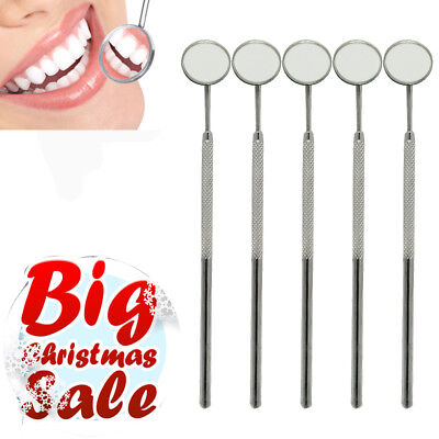 5x Dental Stainless Steel Mouth Mirror 4# Reflector Handle Instrument Oral Care