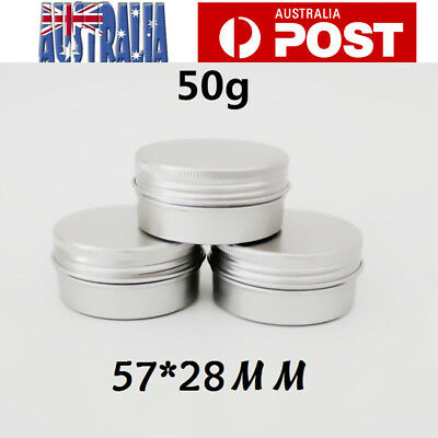 10pcs 50ml Aluminium Empty Cosmetic Pot Lip Balm Jar Tin Container Silver Box AU