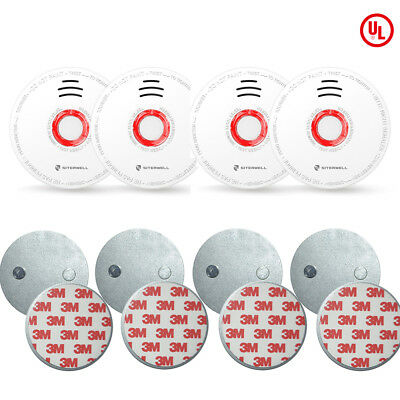 SITERWELL 4 pack Battery Operated Smoke  Alarm 4 pieces Magnetic Fastening Kit