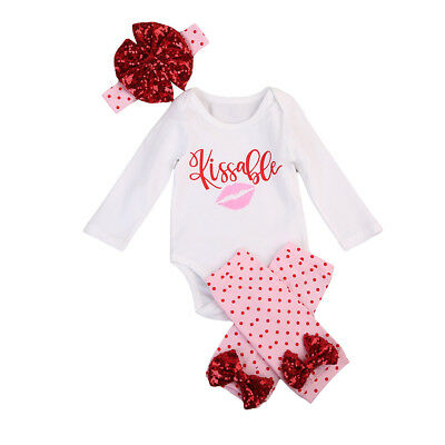 4Pcs Newborn Infant Baby Girls Outfits Clothes Set Bodysuit Tops+ Pants+Headband