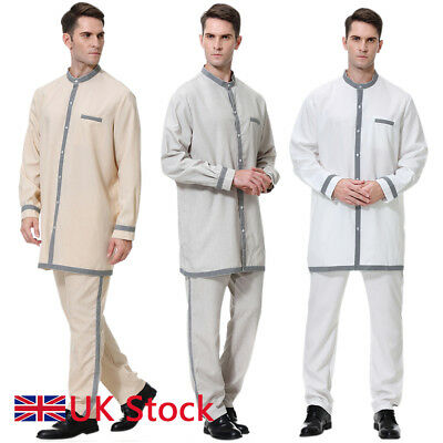 MEN MUSLIM ROBE Arabic Thobe Dubai Gown Casual Abaya Long Sleeve Clothes  Pants