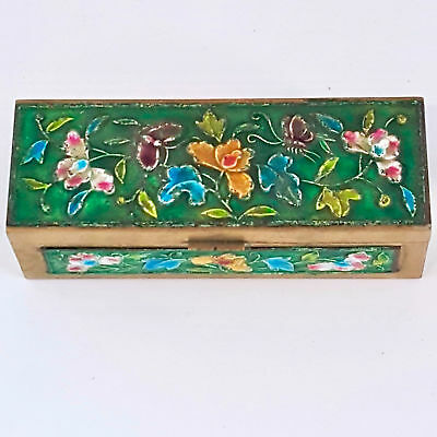 Vintage Chinese Cloisonne Brass Enamel Stamp Box Flowered Brass Trinket Pill Box