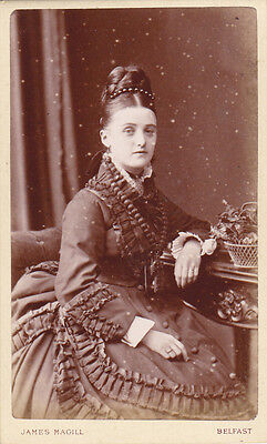 Unusual  Old Cdv Photo Belfast Lady Very Large Cross And Beads Antique Photo