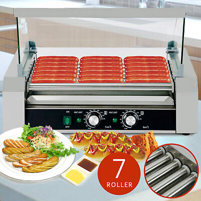 18 Hotdog Roller Commercial Bread Hot Dog 7 Roller Grill Cooker Machine W/Cover