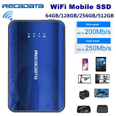 iRecadata Type C 2.4GHz WiFi Mobile SSD Hard Drive Solid State For Windows iOS