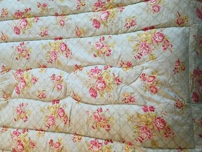 Vintage Jendi Pink Roses On Green Feather Eiderdown Quilt Single Bed Size