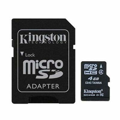 Kingston 4GB MicroSD SDHC TF memoria tarjeta clase 4 con adaptador SD para GPS