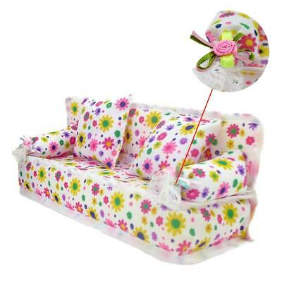 1x Mini Furniture Sofa Couch +2 Cushions/Pillows For Doll House Accessories XMAS