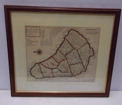 Framed Map Island Barbadoes in 1728 Reproduction 54x48cm Barbados Parishes