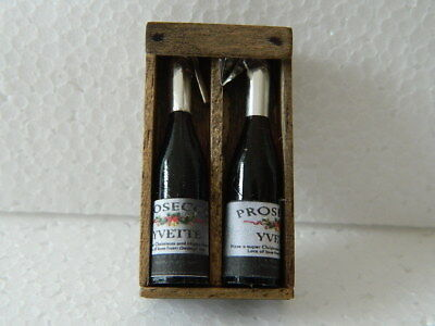 (F19) Dolls House Handmade Wooden Prosecco Box With 2 X Bottles (Empty)
