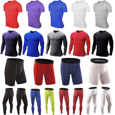 Mens Compression Base Layer Body Skin Jersey T-Shirt Top Pants Leggings Trousers