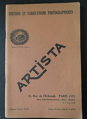 Catalogue appareil photo ARTISTA 1931 cadre album PARIS catalog Katalog
