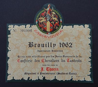 Ancienne étiquette vin wine BROUILLY 1962 PONTANEBAUX french label