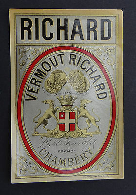 Ancienne étiquette VERMOUTH RICHARD France Chambéry french label