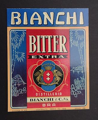 Ancienne étiquette BITTER EXTRA Bianchi & Cie TORINO Italie label