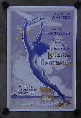 Affiche VILLE DE NANTES / LOTERIE NATIONALE / TRANCHE DE L'AVIATION 1939 / 40x60