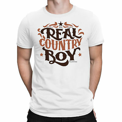 Mens T-Shirt REAL COUNTRY BOY Guitar Western Cowboy West Folk Music Novelty