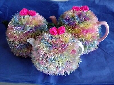 Funky fluffy tea cosy MULTICOLOUR  hand knitted in Wales blue pink green yellow