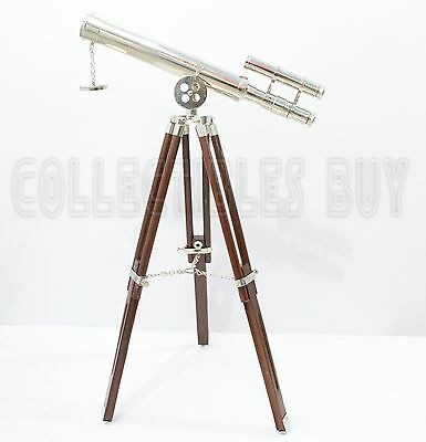 Maritime Nickel Finish Telescope Vintage Solid Brass Tripod Stand Nautical Gift