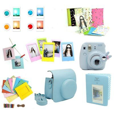 9 in 1 Pink Blue Camera Case Bag +Accessory Bundles for Fujifilm Instax Mini 8 9