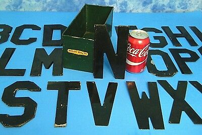 """57 ANTiQUE 6"""" METAL SiGN LETTERS + BOX VtG REPURPOSE CRAFTiNG STEAMPUNK DECOR"""