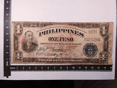 1 Peso Philippines Victory Short Snorter Post Wwii // Paper Money *