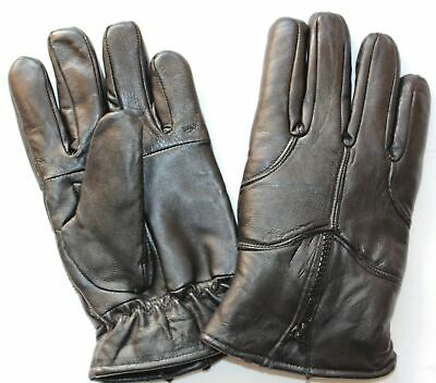 Mens Soft Real Leather Winter Driving Insulate Lined Adjustable Gloves - Uk1B