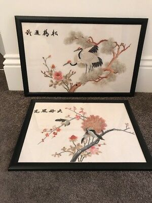 Pair Of Antique Oriental Japanese Chinese Silk Framed Pictures  - Stunning