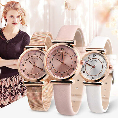 Fashion Women Faux Leather/alloy Slim Band Analog Quartz Lady Wrist Watch Smart