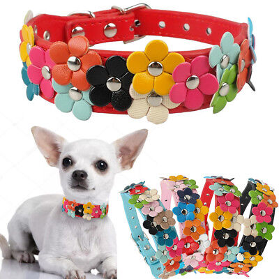 Flower Dog Collar Cute Leather Studded Dogs Necklaces Pet For Small Medium Dogs