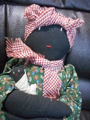 Vintage 14-inch cloth black mammy doll and baby