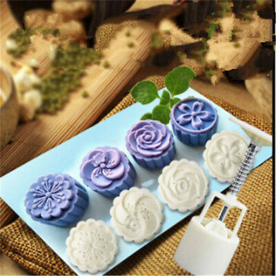 4 Style Moon Cake Mould Mold Hand Pressure Flower Pastry Round Shaped 50g Set