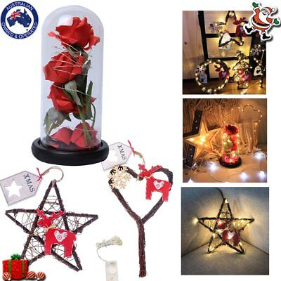 Christmas Gift Decoration Lights Three Simulation Rose Glass Cover Ornaments KF