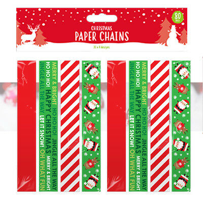 Christmas Paper Chains Uk.80 Christmas Paper Chains Self Adhesive Printed Xmas Decorations Crafts Coloured