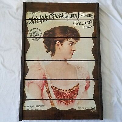 Vintage Adolph Coors Golden Colorado Brewery Wooden Sign, Girl in Pink