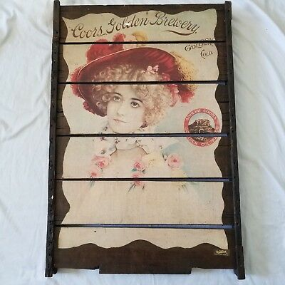 """Vintage Adolph Coors Golden Colorado Brewery Large Wooden Sign, """"Lady in the Red"""