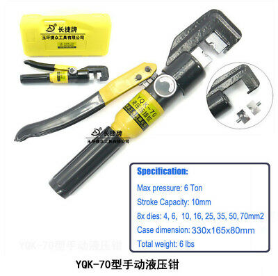 6 Ton Hydraulic Crimper Crimping Tool/w 8 Dies Wire Battery Cable Lug Terminal