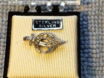 Sword Crescent Moon Star Tie Tack  .925 Sterling Silver