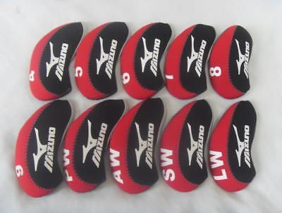 10PCS Protective Club Headcovers for Mizuno Iron Head Covers Red&Black 4-LW Sets