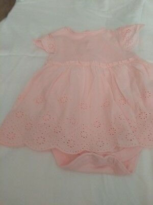 baby pink brocade dress with built in vest 3-6 months