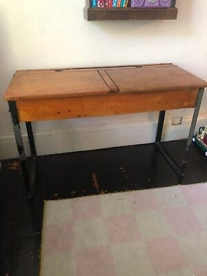 Antique Double Desk with metal legs