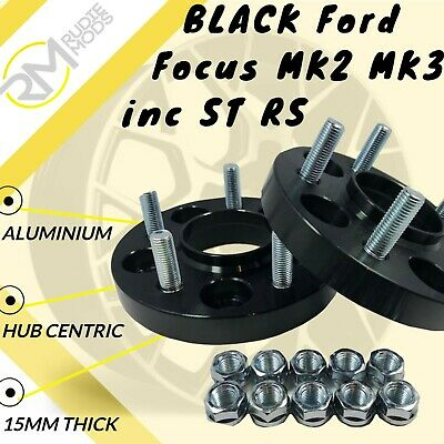 BLACK Ford Focus MK2 MK3 inc ST RS 5x108 15mm Hubcentric wheel spacers 1 pair