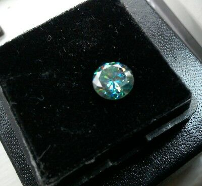 1.06 CT 6.5 MM Intense Blue Round Excellent Diamond Cut Real Moissanite 4 Ring