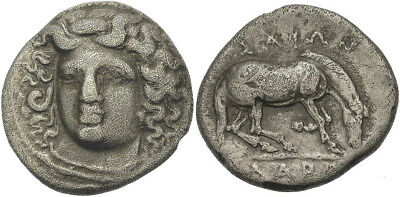FORVM Larissa Thessaly Drachm 356-342 BC Head of Nymph Facing / Horse Right