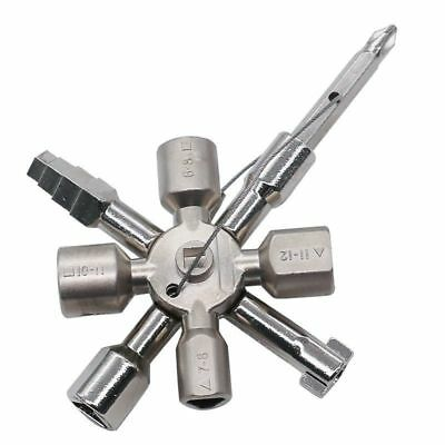 10in1 Multifunction Electrician Plumber Utility Cross Switch Wrench Key Silver U