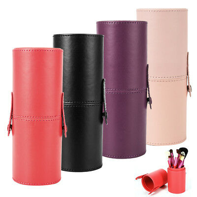 Women PU Leather Cosmetic Case Portable Storage Make Up Bags Brush Holder Cup