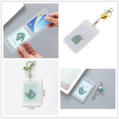 Plastic Credit Card Holder Cover Box Card Bags Cute Cactus Words Card Case