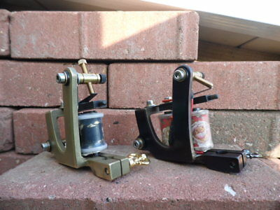 HOT IRONS MATCHED PAIR OF TATTOO MACHINES BRASS 8w LINER & IRON 10w SHADER