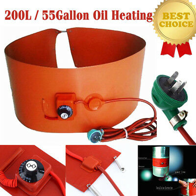 55Gallon/200L 1000W Silicon Band Drum Heater Oil Biodiesel Metal Barrel Utility