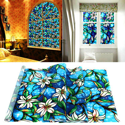 Window Film Sticker Privacy Floral Print Static Frosted Stained Glass Decor